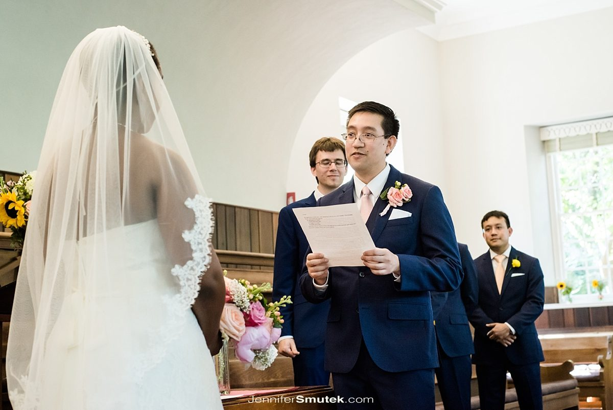 groom ready vows at friends meeting house of dc wedding ceremony