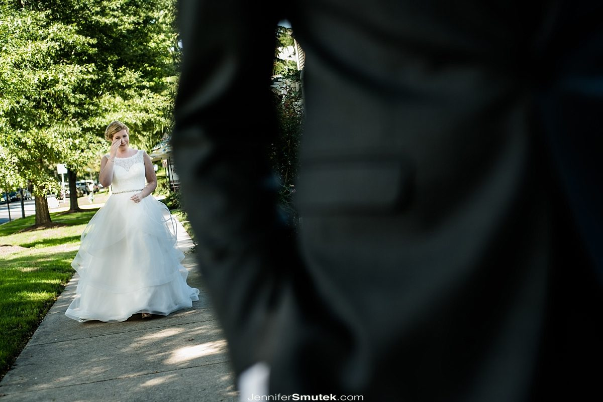 bride crying before first look at the Vandiver Inn