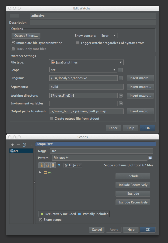 IntelliJ File Watcher Configuration