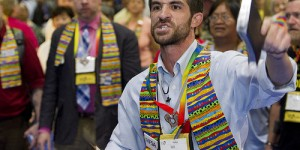 Gay activist Will Green disrupting the 2012 General Conference (Photo: UMNS / Mike DuBose)