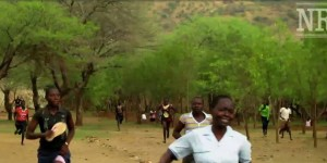 Running from an aerial bombardment in Nuba Mts. (Photo credit: Nuba Reports)