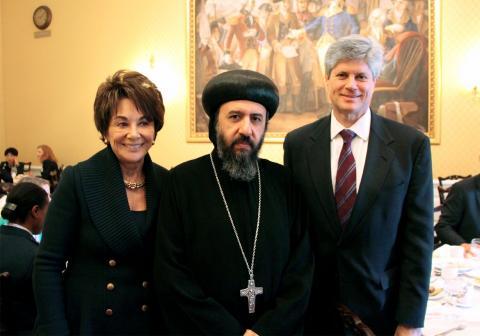 U.S. Rep. Anna Eshoo, Bishop Angaelos of the UK Coptic Church, and U.S. Rep. Jeff Fortenberry.