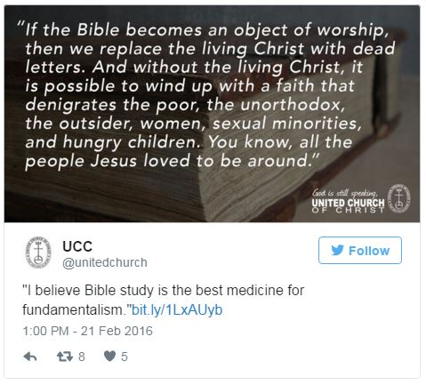 The UCC tweeted these quotes from Pastor John Edgerton on February 21