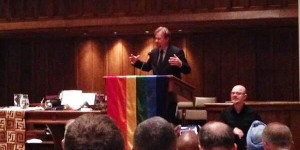 Defrocked UMC pastor Frank Schaefer speaks to a DC interfaith gay pride event. (Source: Twitter, @richardmosson)