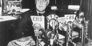 "President Franklin Delano Roosevelt gives one of his regular radio address, widely nicknamed ""fireside chats."""