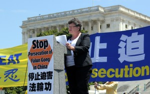 IRD Religious Liberty Program Director Faith McDonnell speaking at the rally for freedom in China at the U.S. Capitol. (Photo credit: Fiona McDonnell)
