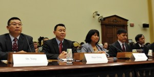 Some of the heroes of Tiananmen Square, members of the 21 Most Wanted by the People's Republic of China, testify at a hearing by the U.S. House Foreign Affairs Subcommittee on Human Rights. (Photo credit: Initiatives for China)