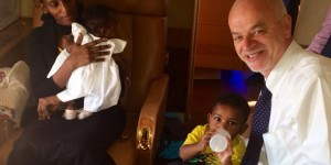 Sudanese Christian Meriam Ibrahim is shown with her two children and Lapo Pistelli, Italy's vice-minister for foreign affairs, on a flight from Khartoum to Rome. (photo: Lapo Pistelli/Facebook)
