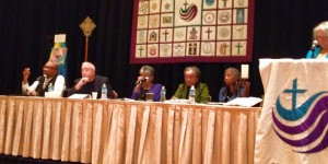 Sojourners' Jim Wallis (second from Left) appeared on a panel to discuss mass incarceration alongside Harold Dean Trulear (Left), Janet Wolf (Center), Marian Wright Edelman (Right) and Iva Carruthers (Right). (Photo: National Council of Churches)