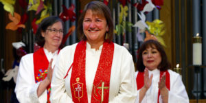 From L-R: Bishop Elaine Stanovsky, Karen Oliveto, and Bishop Minerva Carcaño (Photo: www.pnwumc.org)