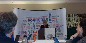 Rev. Henry-Crowe delivering her General Secretary's address at this meeting (Photo credit: IRD)