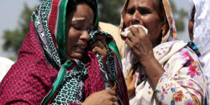 epa05521814 Pakistani Christians react during the funeral ceremony of a victim who was killed in a suicide bomb blast that targeted a Christian colony, in Peshawar, Pakistan, 03 September 2016. According to media reports, four suicide bombers were shot dead by security forces after they targeted a Christian colony near Peshawar, one person was killed on 02 September.  EPA/ARSHAD ARBAB (Newscom TagID: epalivetwo340316.jpg) [Photo via Newscom]