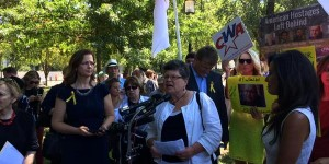 Faith McDonnell speaking at the #BadDeal Rally. (Photo Credit: Chelsen Vicari IRD)