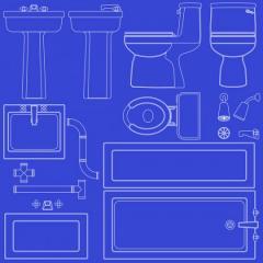 bathroom fixture blueprint icons