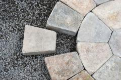 Paving stones arranged in a circular pattern
