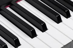 Black and white keys on a piano keyboard