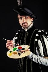 portrait of an artist and his oil paint palette