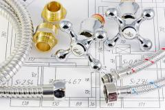 Sanitary engineering drawing with plumbing parts