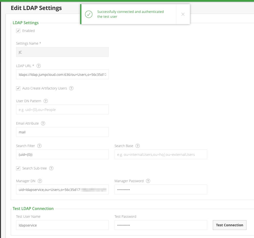 JumpCloud | Configuring JFrog Artifactory to use Jum