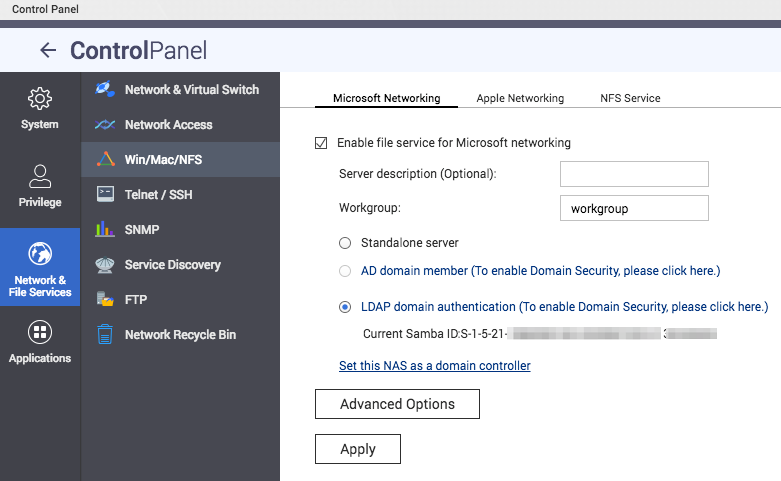 JumpCloud | Configuring QNAP for Microsoft Networkin