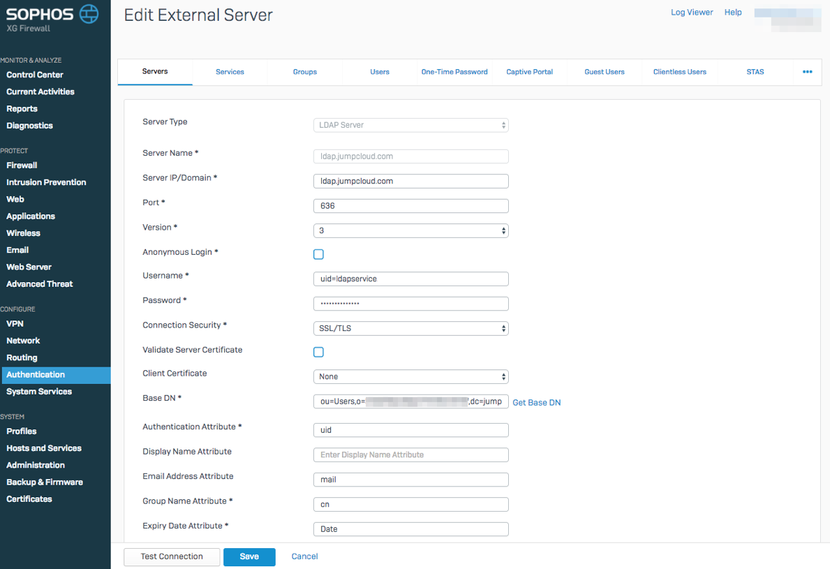 JumpCloud | Configuring Sophos Firewall to use JumpC