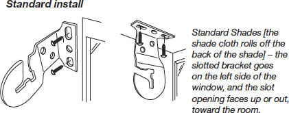 Bracket Location & Installation - Standard Install - Standard Shades [the shade cloth rolls off the back of the shade] - the slotted bracket goes on the left side of the window, and the slot opening faces up or out, toward the room.