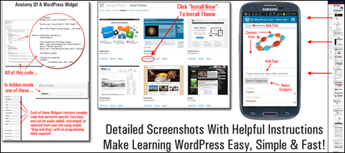 Detailed screenshot tutorials with helpful instructions make learning how to use WordPress easy, simple and fast!