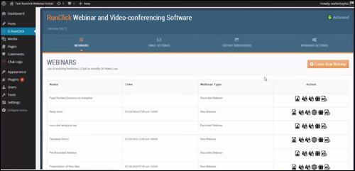 RunClick webinar and video conferencing software for WP