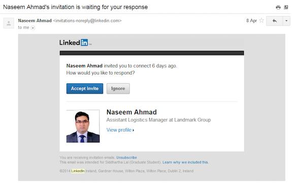 LinkedIn Invite Reminder Email