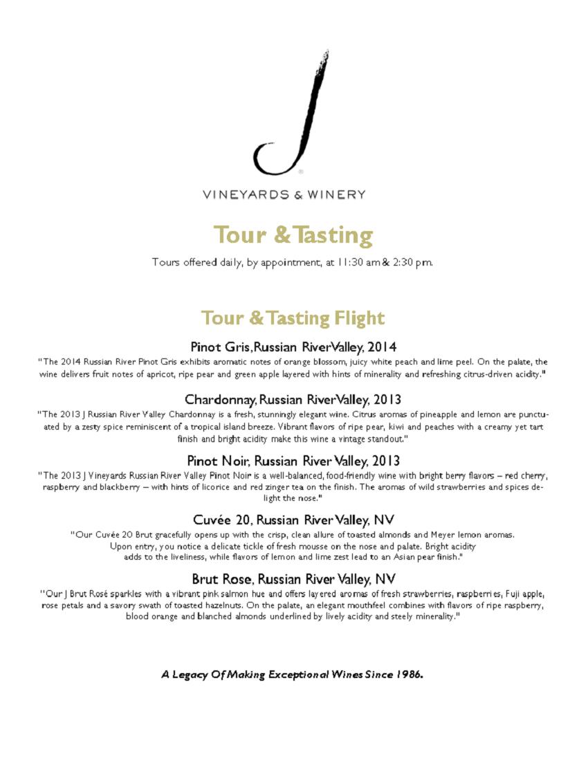 Tour & Tasting Menu