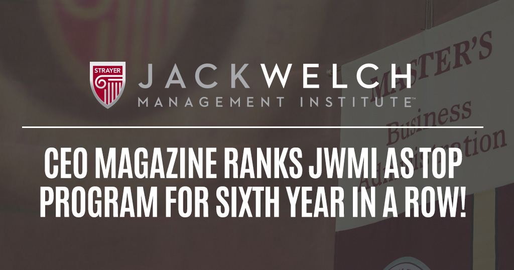 CEO magazine ranks JWMI as top program for 6th year in a row!