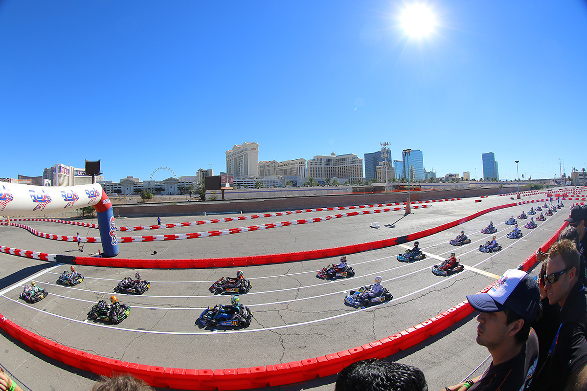 Karts line up on the front straightaway at the 2018 rok the rio event