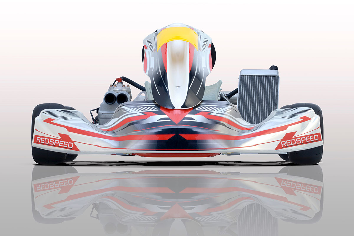 Photo of the front of the Redspeed kart
