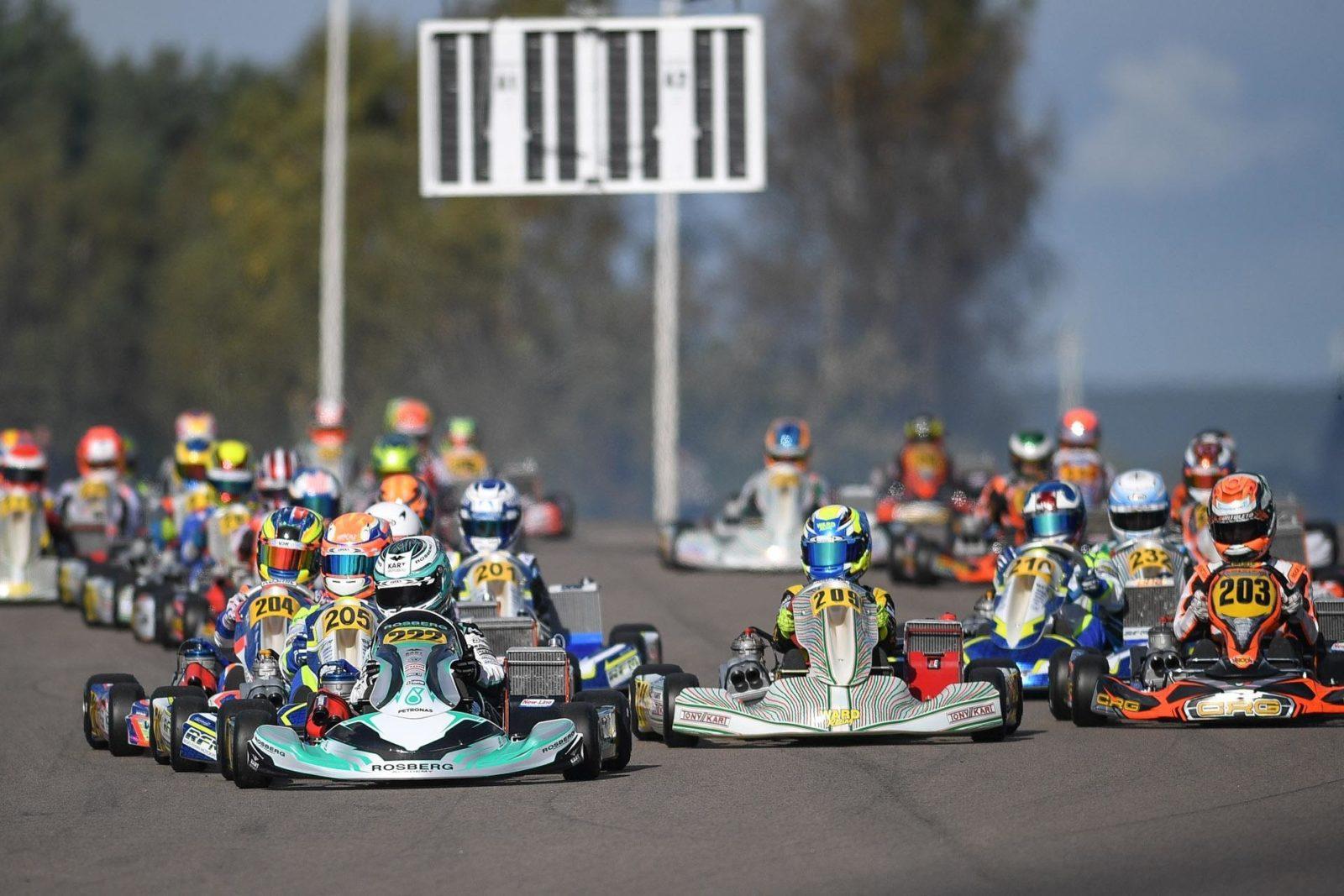 Taylor Barnard leads OK-Junior into the opening corner of a heat race at the 2018 CIK World Junior Championship