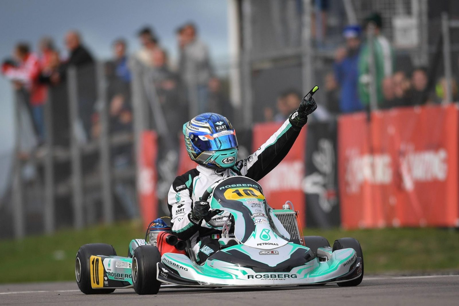 Lorenzo Travisanutto pumps his fists after the victory at the 2018 FIA Karting World Championships in Kristianstad, Sweden