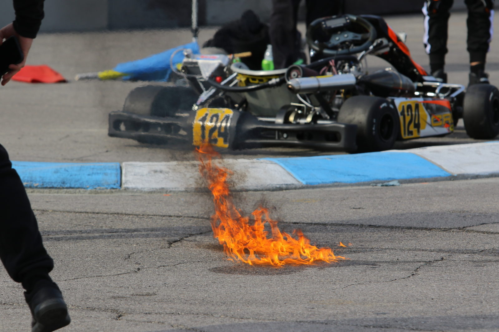 On track fire after gas spilled onto the surface