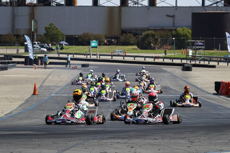 Shifter karts on the straightaway at CalSpeed Karting