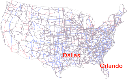 US Road map with Dallas and Orlando highlighted