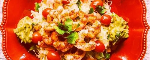 Tropical Grilled Shrimp Salad With Cilantro Lime Slaw