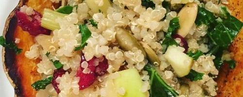 Acorn Squash Bowls Stuffed W/ Quinoa, Apple & Kale