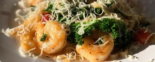 Bone To Broth Shrimp Fettuccini With Garlic Butter Sauce