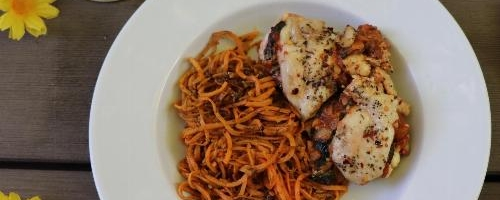 Saucy Stuffed Chicken Breast   Sunflower Seed Pesto Sweet Potato Noodles