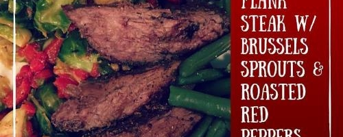 Flank Steak With Roasted Brussels Sprouts & Red Peppers