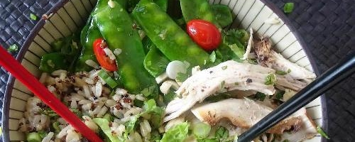 Tea-smoked Chicken Bowl With Snow Peas And Cherry Tomatoes