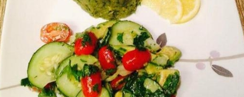 Mashed Garbanzo Beans With Cucumbers, Avocado And Cherry Tomatoes