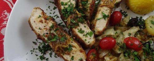 Almond-crusted Chicken With Artichoke Potato Gratin