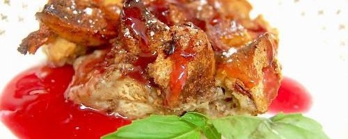 Bagel French Toast With Sweet Plum Sauce