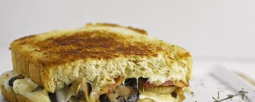 Bacon Mushroom Swiss Grilled Cheese Sandwich