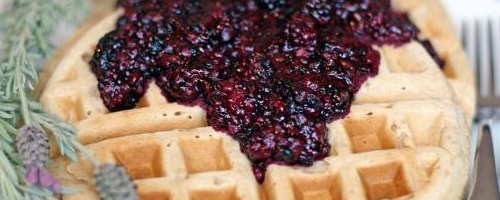Lavender Waffles With Berry Chia Compote