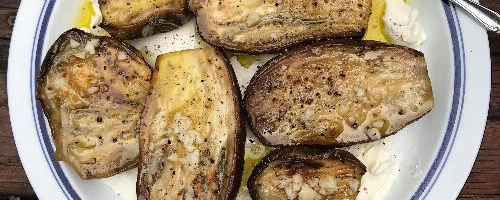 Halved Roasted Eggplant With Dressing